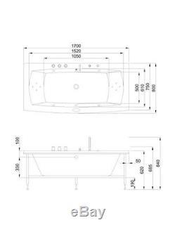NEW 2020 PALERMO WHIRLPOOL BATH-1700mm x 800mm-Jacuzzi Jets Massage Spa-FREE P&P