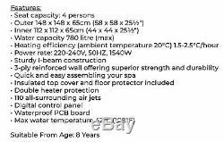 NEW! 4-6 Person Square Black Hot Tub Jacuzzi+Accessories Like Spa Vegas Cancun