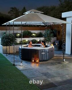 New Intex Octagonal Pure Spa 4-5 Person Bubble Therapy Hot Tub Jacuzzi, Beige