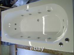 OCEAN Whirlpool Bath 12 Jet Chrome Double Ended 1800 x 800 Bath