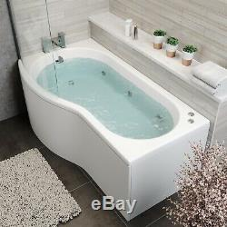 P Shape 1700 x 900mm LH Whirlpool Jacuzzi Bath Vitura 6 Jets Screen Front Panel
