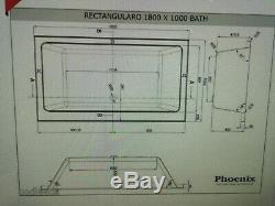 Phoenix Rectangularo Amanzonite Whirlpool Bath 1800 x 1000mm System 1 Jacuzzi