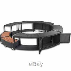 Poly Rattan Hot Tub Spa Surround Outdoor Garden Spa Jacuzzi / Step with Storage