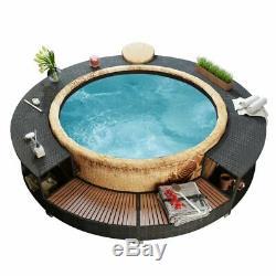 Poly Rattan Hot Tub Surround Tropical Tub Garden Patio Spa Jacuzzi Spa Step Home