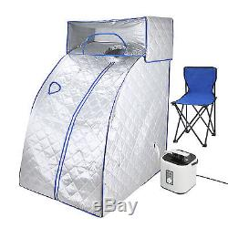 Portable Steam Sauna Head Cover Chair Steamer Herbal Box SPA Body Detoxify Grey
