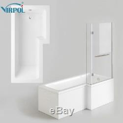 Square L Shape R Hand Bath Wihte Acrylic Front Panel+End Panel+6mm Screen 1700mm