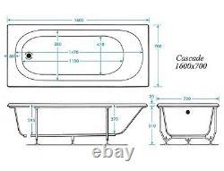 TROJAN CASCADE1600mm 11 NEW EASY CLEAN SLIMSTYLE JETS WHIRLPOOL SPA BATH