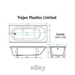 Trojan Cascade 11 Jet Whirlpool Bath 1500 mm x 700 mm 5 mm Acyrlic Jacuzzi Spa