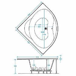 Trojan Laguna 1200 x 1200mm Corner 24 Jet Whirlpool / Jacuzzi Bath