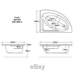 Trojan Orlando 1500 x 1020mm RH Corner 24 Jet Whirlpool / Jacuzzi Bath & Light