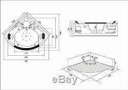 VASCA BAGNO IDROMASSAGGIO CROMOTERAPIA 2 PERSONE NUOVA Mod. MAJESTIC BATH TUB