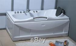 Vasca da bagno rettangolare IDROMASSAGGIO cuscino 153x85x68cm rubinetteria PI002