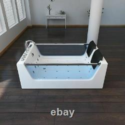 Virpol Whirlpool 2 Person double Bath tub SPA Massage Jets Jacuzzi LED White