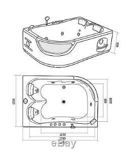WHIRLPOOL BATH TUB SPA CORNER BATH BATHTUB HOT TUB Orion 180 x 120 cm