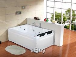 Whirlpool Bath 1850mm x 1230 Shower 18 JET Jacuzzi Straight Spa Underwater Light