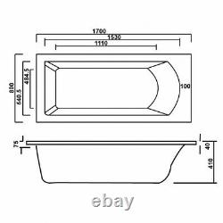 Whirlpool Bath CUBE design Single End 1700mm x 800mm 12 Jets
