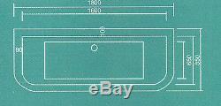Whirlpool Bath DELTA'D' shape 8 Jet Chrome 1800 x 850