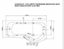 Whirlpool Bath Liberty Bathstore 8 Jet Spa Shower AND Screen RIGH Hand RRP £895