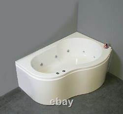 Whirlpool Bath Offset Corner Curve RH 10 Jets Chrome UK manufactured