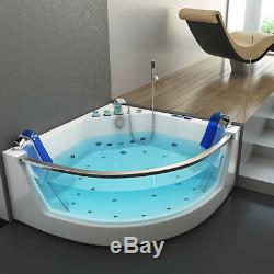 Whirlpool Bath Shower Spa Jacuzzi 17 Massage Jets Corner Double Ended Bathtub