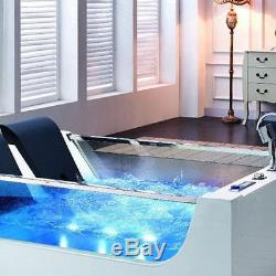 Whirlpool Bath Tub Air Spa Jacuzzi Massage 2 Person Acrylic Waterfall LED Jets