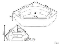 Whirlpool Bathtub 140x140 CM With Fittings LED 12 Massage Nozzles Corner Bath