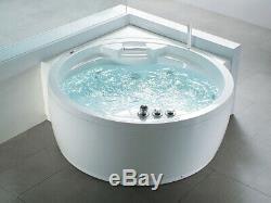Whirlpool Bathtub With Massage Heater LED Waterfall Ozone Radio Corner Tub Round