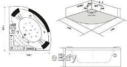 Whirlpool Corner Bath Jacuzzi Massage Jet Shower Double Ended SPA LED 140x140cm