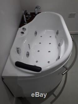 Whirlpool Corner Bath Shower Spa Jacuzzi Straight Bathtub LED lighting & control