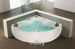 Whirlpool Eck Badewanne mit 12 Massage Düsen LED Eckbadewanne Hot Tub Eckmontage