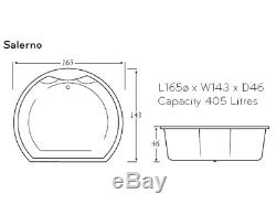 Whirlpool Luxury bath 11 Jet Large Inset Bathroom White Chrome