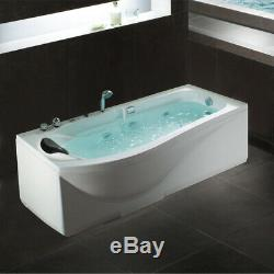 Whirlpool Massage Single Bath Tub Spa LED Lights 8 Massage Jets