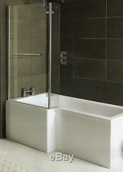 Whirlpool Shower Bath L Shaped Left hand'MATRIX' 1500mm with 10 Jet System