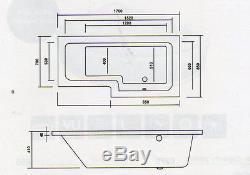 Whirlpool Shower Bath L shape with 22 Jet Hydro System Matrix 1700 Left Hand