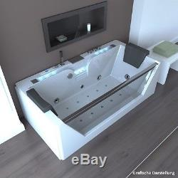 Whirlpool bath rectangular bathtub 2 persons tub LED jacuzzi ...