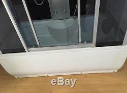 Whirlpool corner bath 150 x 83 cm glass panel, lighting FM Radio Taps 2 person