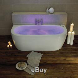 White Trojan Decadence Twin Ended 6 Jet Whirlpool Bath Chromotherapy Jacuzzi Spa