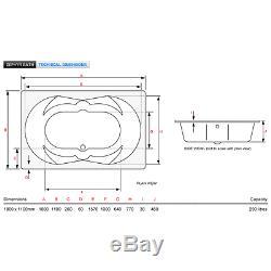 Zephyr 1800x1100mm Luxury Amanzonite, Super Reinforced Flush-Spa Air Spa Bath